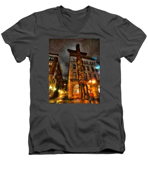 Totem In The City Men's V-Neck T-Shirt by Andre Faubert