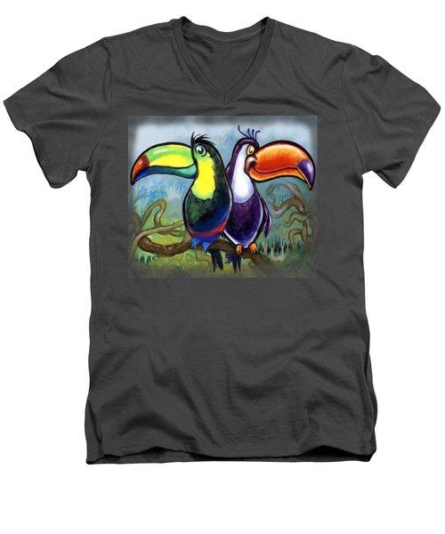 Toucans Men's V-Neck T-Shirt by Kevin Middleton