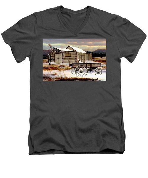 Touch Of Spring Men's V-Neck T-Shirt by Ron and Ronda Chambers