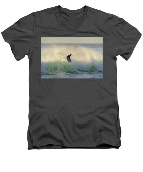 Men's V-Neck T-Shirt featuring the photograph Touch The Sun by Thierry Bouriat