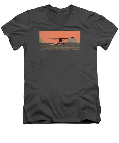 Men's V-Neck T-Shirt featuring the photograph Touchdown by Mark Alan Perry