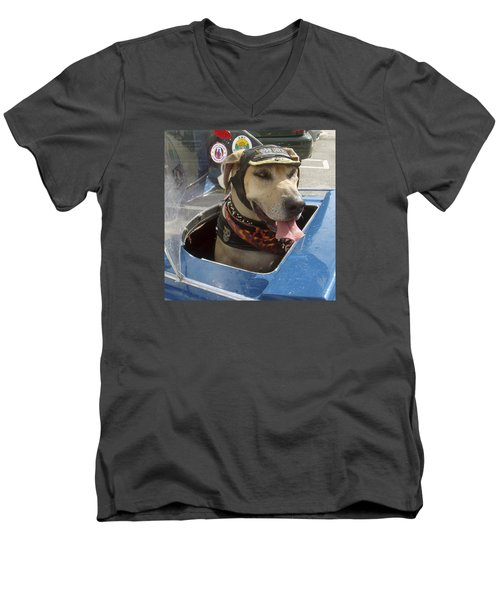 Tourist Dog 2 Square Men's V-Neck T-Shirt