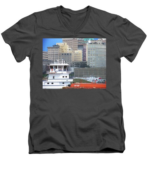 Towboat Robt G Stone At Memphis Tn Men's V-Neck T-Shirt by Lizi Beard-Ward