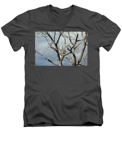 Men's V-Neck T-Shirt featuring the photograph Tower And Trees by Valentino Visentini