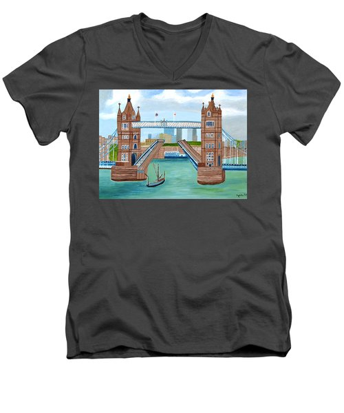 Men's V-Neck T-Shirt featuring the painting Tower Bridge London by Magdalena Frohnsdorff
