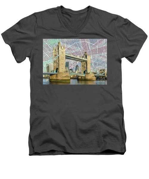 Men's V-Neck T-Shirt featuring the digital art Tower Bridge With Union Jack by Adam Spencer
