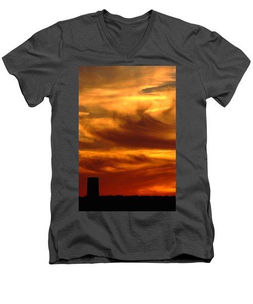 Tower In Sunset Men's V-Neck T-Shirt