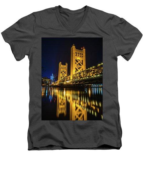 Tower Reflections Men's V-Neck T-Shirt by Alpha Wanderlust