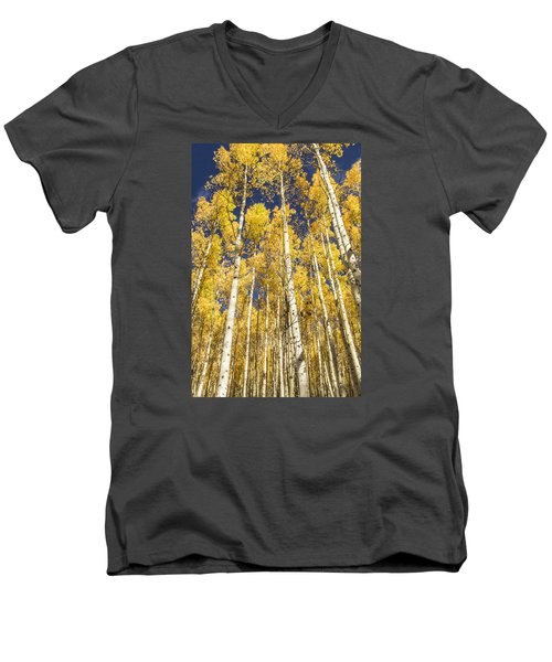 Men's V-Neck T-Shirt featuring the photograph Towering Aspens by Phyllis Peterson
