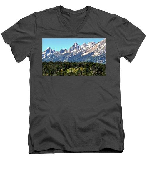 Towering Teton Range  Men's V-Neck T-Shirt