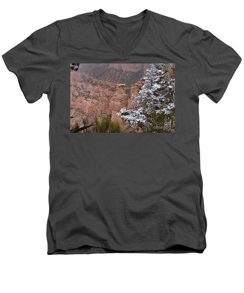Towers In The Snow Men's V-Neck T-Shirt by Debby Pueschel