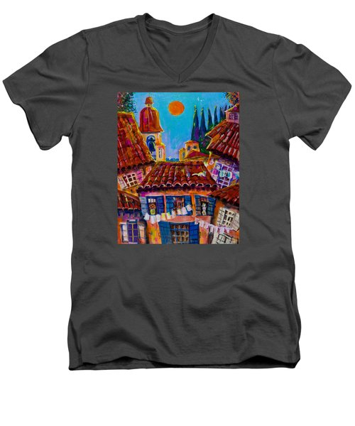 Town By The Sea Men's V-Neck T-Shirt by Maxim Komissarchik