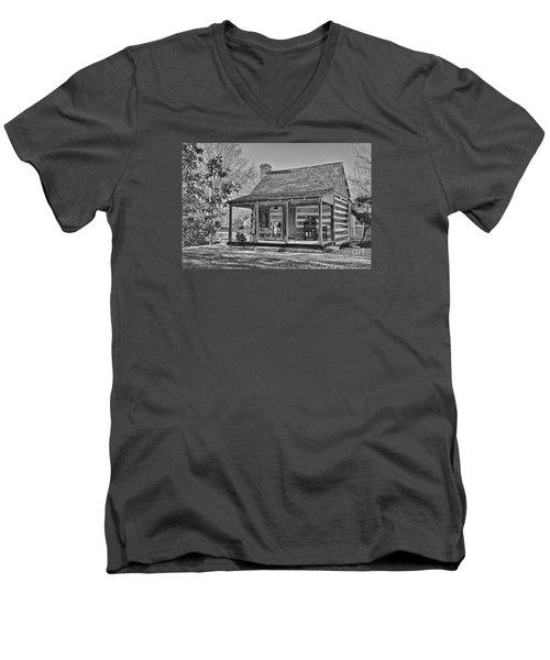 Town Creek Log Cabin In Fall_2 Men's V-Neck T-Shirt