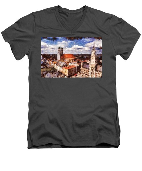 Men's V-Neck T-Shirt featuring the photograph Town Hall. Munich by Sergey Simanovsky