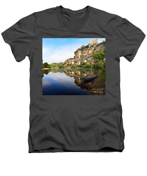 Town Of Beynac-et-cazenac Alongside Dordogne River Men's V-Neck T-Shirt by IPics Photography