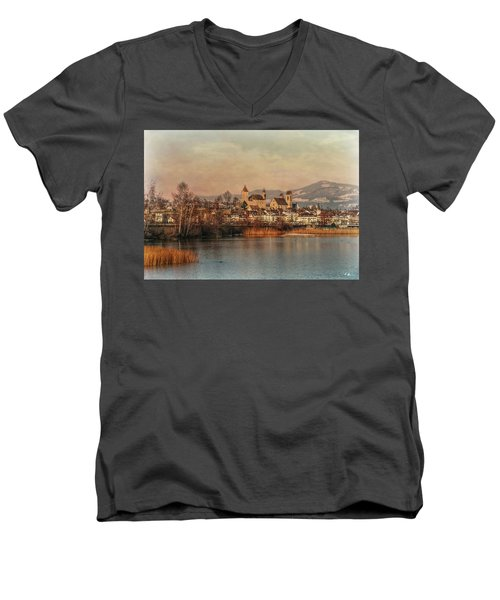 Men's V-Neck T-Shirt featuring the photograph Town Of Roses by Hanny Heim
