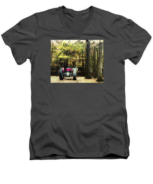 Tractor Men's V-Neck T-Shirt by Carlee Ojeda
