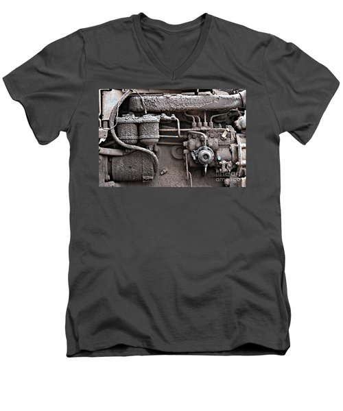 Men's V-Neck T-Shirt featuring the photograph Tractor Engine II by Stephen Mitchell
