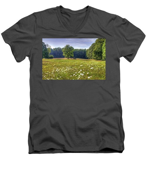 Tractor In Field With Flowers Men's V-Neck T-Shirt