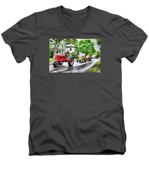 Tractors On Parade Men's V-Neck T-Shirt by Rena Trepanier