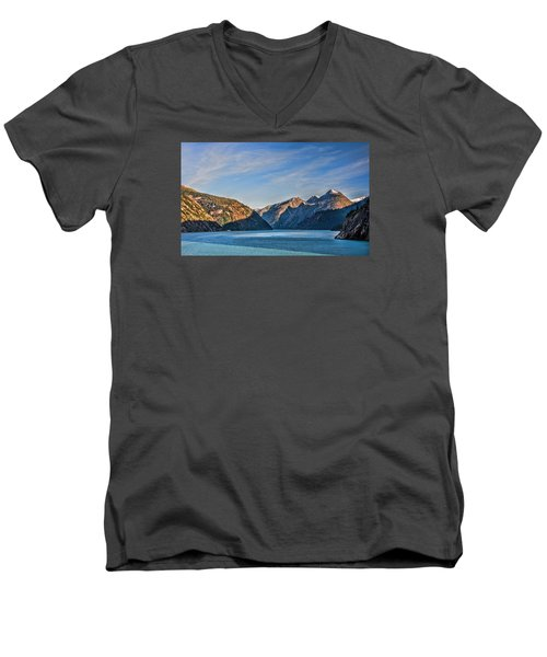 Men's V-Neck T-Shirt featuring the photograph Tracy Arm Fjord  by Lewis Mann