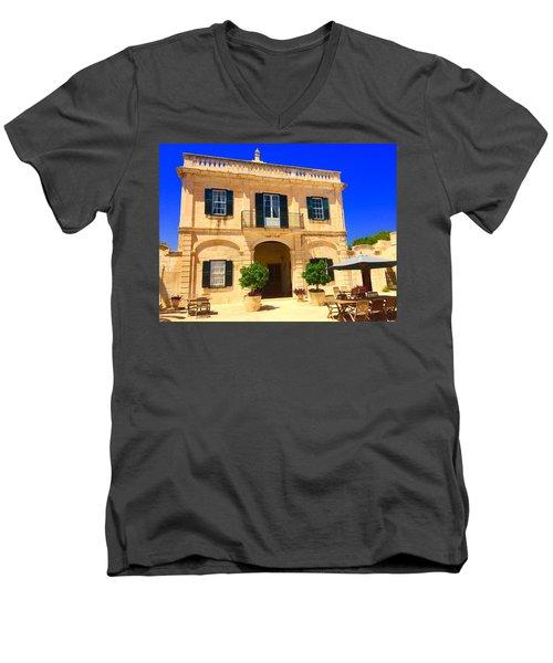 Traditional Menorcan Farmhouse Men's V-Neck T-Shirt