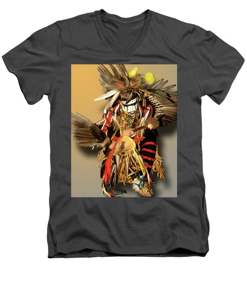 Traditional Native American Dancer Men's V-Neck T-Shirt
