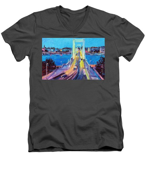 Traffic On Elisabeth Bridge At Dusk Men's V-Neck T-Shirt