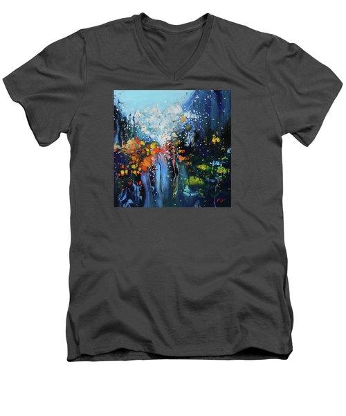 Traffic Seen Through A Rainy Windshield Men's V-Neck T-Shirt by Dan Haraga