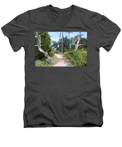 Trail On Hunting Island Men's V-Neck T-Shirt by Ellen Tully