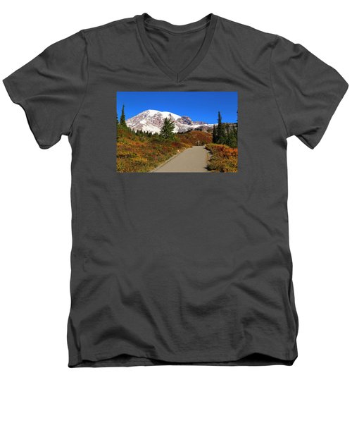 Men's V-Neck T-Shirt featuring the photograph Trail To Myrtle Falls by Lynn Hopwood