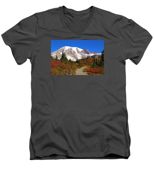 Men's V-Neck T-Shirt featuring the photograph Trail To Myrtle Falls 2 by Lynn Hopwood