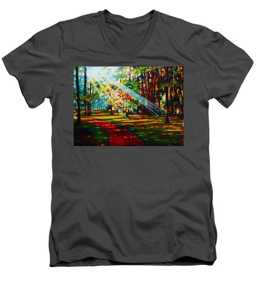Men's V-Neck T-Shirt featuring the painting Trails Of Light by Emery Franklin