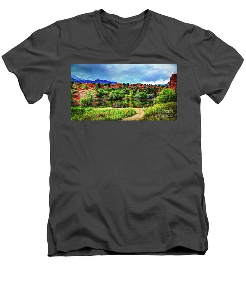 Men's V-Neck T-Shirt featuring the photograph Trails Of Red Rock Canyon by Deborah Klubertanz