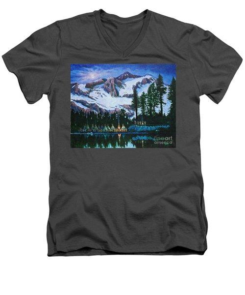 Trails West II Men's V-Neck T-Shirt by Michael Frank
