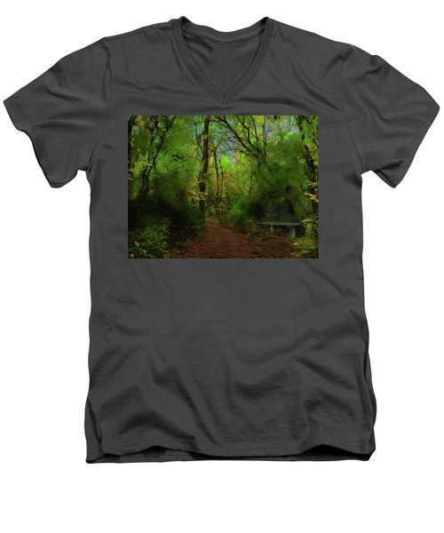 Trailside Bench Men's V-Neck T-Shirt by Cedric Hampton