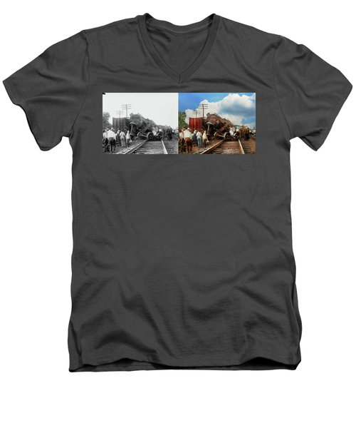 Men's V-Neck T-Shirt featuring the photograph Train - Accident - Butting Heads 1922 - Side By Side by Mike Savad