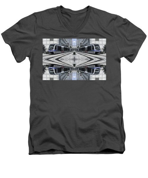 Men's V-Neck T-Shirt featuring the photograph Train by Brian Jones