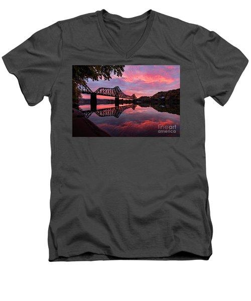 Train Bridge At Sunrise  Men's V-Neck T-Shirt