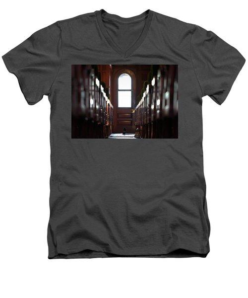 Train Car Interior Men's V-Neck T-Shirt by Joseph Skompski