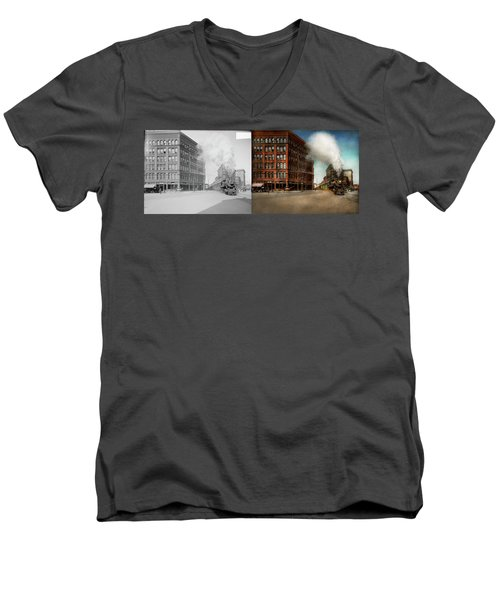 Men's V-Neck T-Shirt featuring the photograph Train - Respect The Train 1905 - Side By Side by Mike Savad
