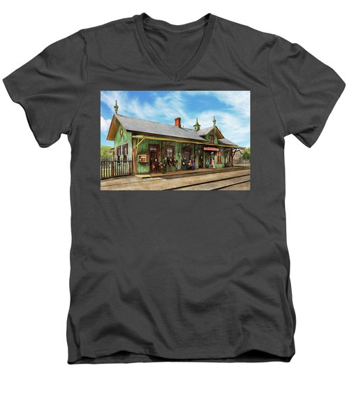 Men's V-Neck T-Shirt featuring the photograph Train Station - Garrison Train Station 1880 by Mike Savad