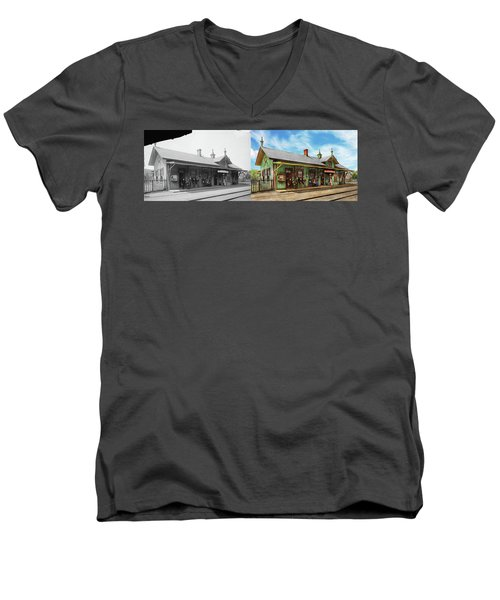 Men's V-Neck T-Shirt featuring the photograph Train Station - Garrison Train Station 1880 - Side By Side by Mike Savad