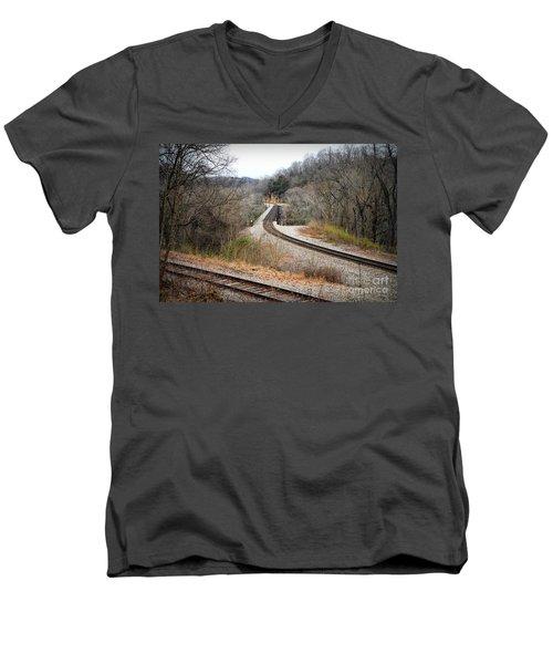 Train Tracks Across The New River - Radford Virginia Men's V-Neck T-Shirt