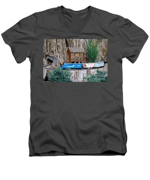 Men's V-Neck T-Shirt featuring the painting Train Train Take Me Out Of This Town by Robert Pearson