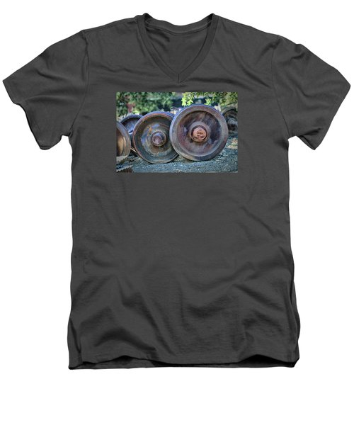 Men's V-Neck T-Shirt featuring the photograph Train Wheels by Steve Siri