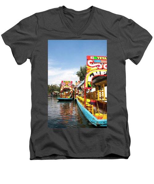 Trajineras Men's V-Neck T-Shirt by Ana Mireles