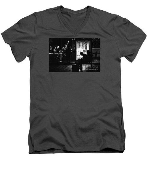 Men's V-Neck T-Shirt featuring the photograph Tram Station Silhouettes by Jivko Nakev