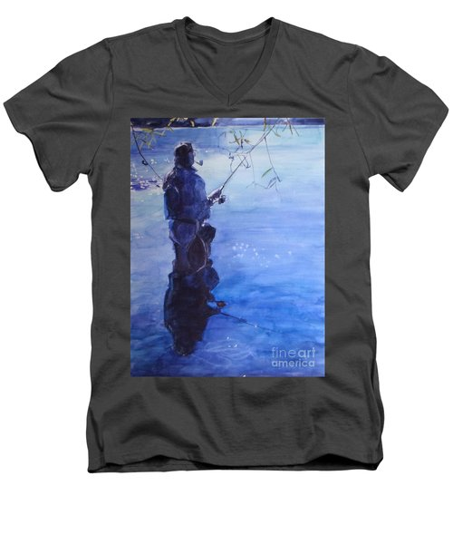 Tranquil Fishing Men's V-Neck T-Shirt by Greta Corens