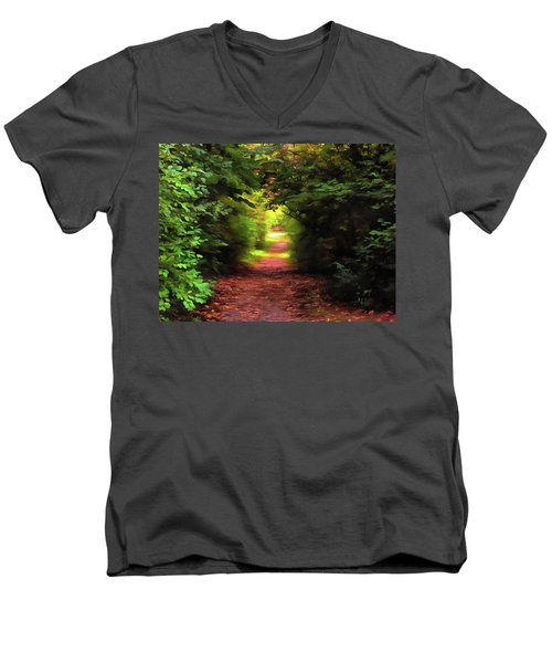 Tranquil Pond Men's V-Neck T-Shirt by Cedric Hampton
